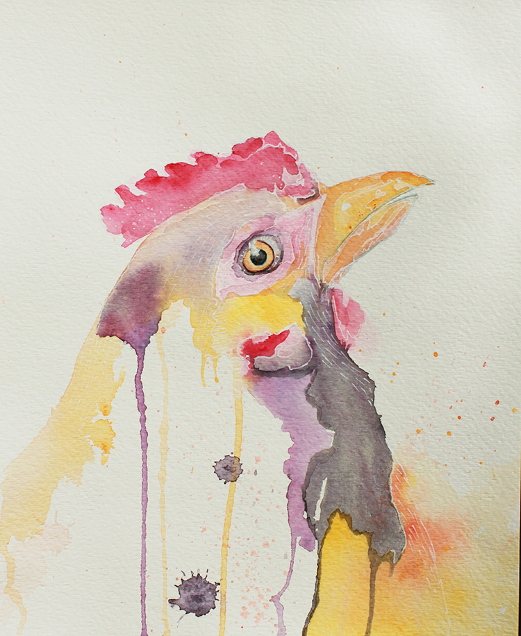 Chicken Water Color Portrait